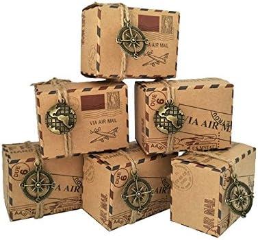 yalulu 50pcs Vintage Favors Caja Candy de papel Kraft de viaje ...