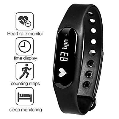 Fitness Tracker, Gosund C6 Heart Rate Monitoring Smart Bracelet Fitness Band with Pedometer, Call, SMS Reminder, IP65 Waterproof(Black-1)