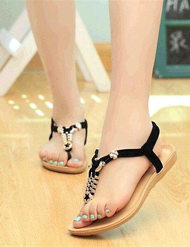 ShangYi Women's Shoes Tulle / Leatherette Low Heel Comfort Sandals Outdoor / Casual Black / Blue / Beige