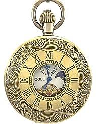 Ogle Waterproof Vintage Bronze Roman Tourbillon Analog Chain Fob Self Winding Automatic Mechanical Pocket Watch