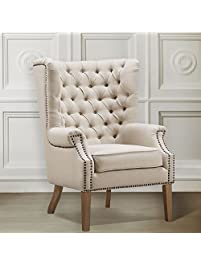 tov furniture abe linen wing chair beige - Tov Furniture