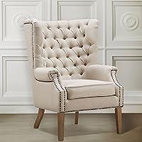 TOV Furniture Abe Linen Wing Chair, Beige