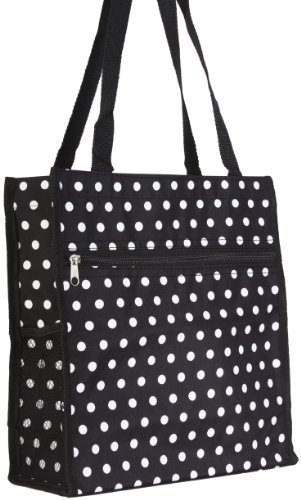 Black White Polka Dots Travel Tote Bag 12-inch