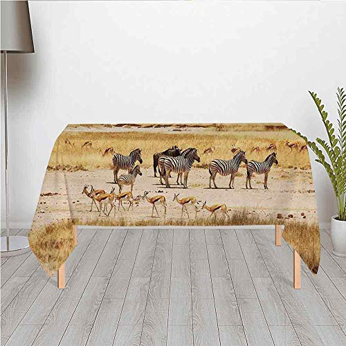 - Safari Custom Satin Tablecloth,Zebras with Their Striped Coats in Savannahs Sunset Adventure Africa Wild Safari for Dining Table Tea Table Desk Secretaire,60.24''W x 40.16''H