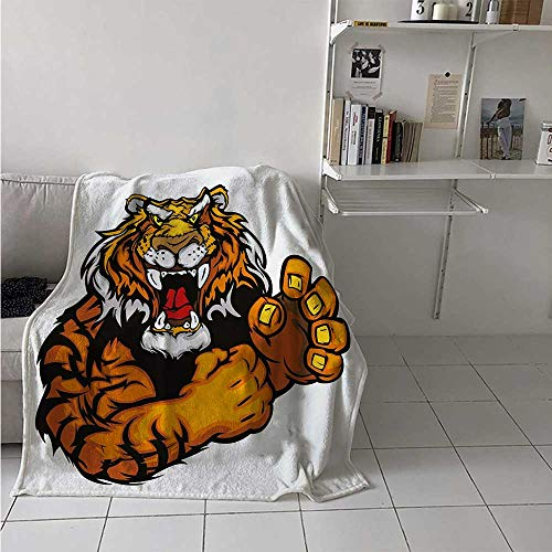 maisi Tiger Throw Blanket Cartoon Styled Very Angry Muscular Large Feline Mascot Animal Growling Print Velvet Plush Throw Blanket 60x36 Inch Black and Orange