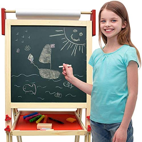 Deluxe Standing Art Easel - Dry-Erase Board, Chalkboard, Paper Roller,Magnetic Whiteboard, Includes Paper Roll, And Accessories,The Ultimate All-in-One Wooden Kid's Art Easel, Young Artist Easel