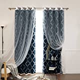 Best Home Fashion Tulle Lace & Moroccan Print Border Room Darkening Curtain Set – Stainless Steel Nickel Grommet Top – Navy – 52″W x 84″L – (2 Curtains and 2 Sheer curtains) Review