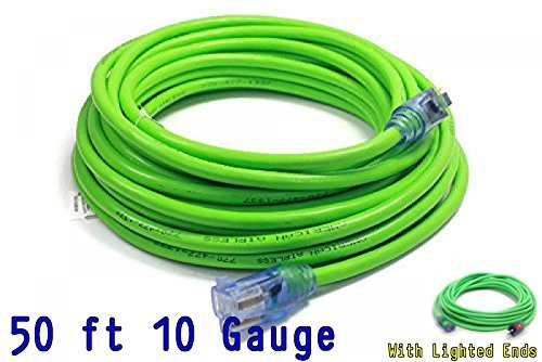Century Contractor Grade 50 ft 10 Gauge Power Extension Cord 10/3 Plug,extension cord With Lighted Ends (50 ft 10 Gauge, green)