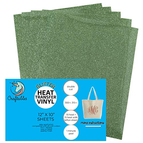 Craftables Lime Glitter Heat Transfer Vinyl, HTV - 5 Sheets Sparkling Easy to Weed Tshirt Iron on Vinyl for Silhouette Cameo, Cricut, All Craft Cutters. Ships Flat, Guaranteed Size