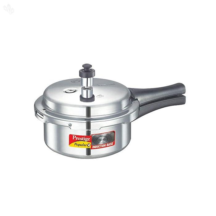 Prestige P+2L Popular Plus Induction Base Aluminum Pressure Cooker, 2-Liter, Silver