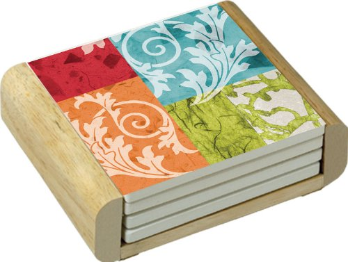 CounterArt Absorbent Coasters Wooden Holder