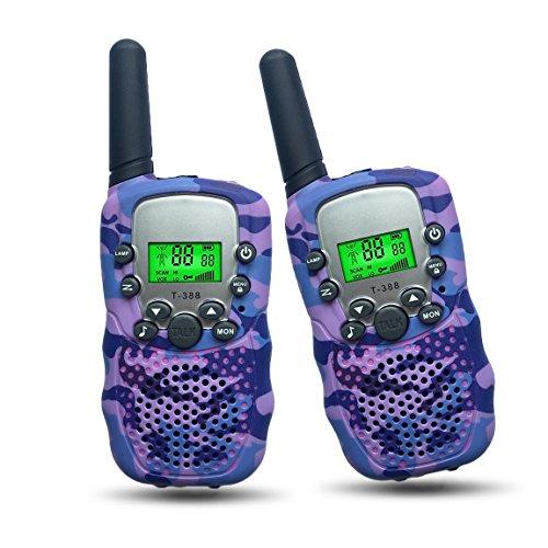 Toys for 5-10 Year Old Girls Joyfun Kids Walkie Talkies for Girls Mini Handheld 2 Way Long Rang T-388 with Flashlight Birthday Gifts Purple - 1 -