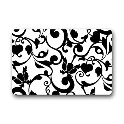 Amazon Fantastic Doormat Black And White Damask Pattern French Delectable Damask Pattern