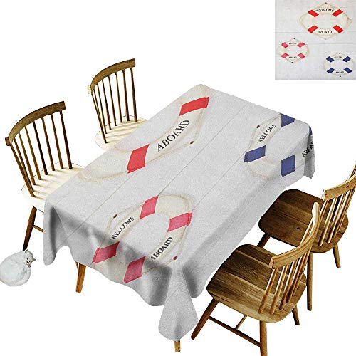 kangkaishi Anti-Wrinkle and Anti-Wrinkle Polyester Long Tablecloth for Weddings/banquets Life Buoy with Welcome Aboard Hanged on Wall in Ship Traveling Getaway Trip W14 x L72 Inch Red Pink Navy ()