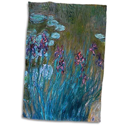 3dRose VintageChest - Masterpieces - Claude Monet - Irises and Waterlilies - 15x22 Hand Towel (twl_303329_1) ()