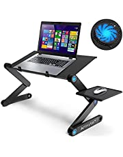 """Folding Laptop Stand Desk 23.2"""" Adjustable Laptop Stand for Bed Foldable Laptop Table Portable with Cooling & Fan Mouse Pad Sofa Couch Tray for Tablet Notebook MacBook"""