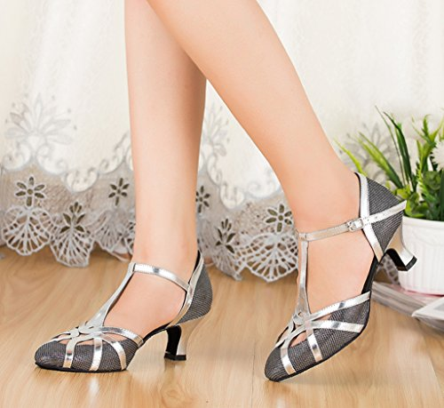 Grey Toe Party Glitter Tango Stylish Synthetic CRC Dance Salsa Morden Latin Material Professional Shoes Wedding Round Womens Ballroom q7p7ntT