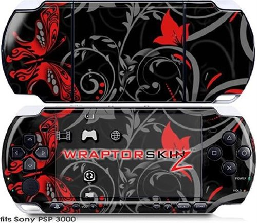 Sony PSP 3000 Decal Style Skin - Twisted Garden Gray and Red