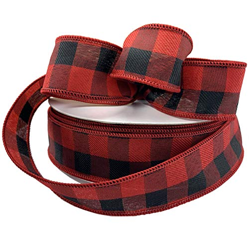 Buffalo Check Wired Christmas Ribbon – 1 1/2″ x 50 Yards, Red Black Plaid, Xmas Tree Decoration, Wreath, Farmhouse Decor, Garland, Gifts, Wrapping, Wreaths, Bows