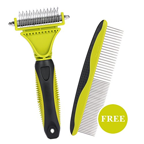 Dematting Comb Grooming Tool Kit for Dog & Cat Double Sided Blade Rake Comb with Grooming Brush Loose Undercoat, Mats, Tangles and Knots Removal for Long Thick Short - Scratch Good Remover