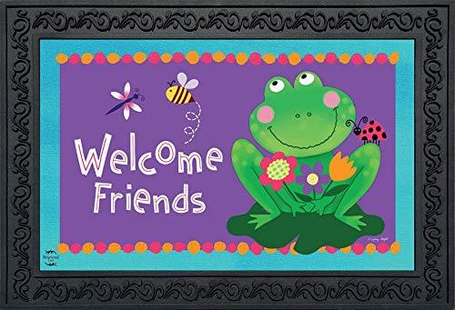 - Briarwood Lane Welcome Friends Frog Summer Doormat Lilypad Indoor Outdoor 18