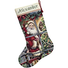 Dimensions Needlecrafts Counted Cross Stitch, Candy Cane Santa Stocking Kit