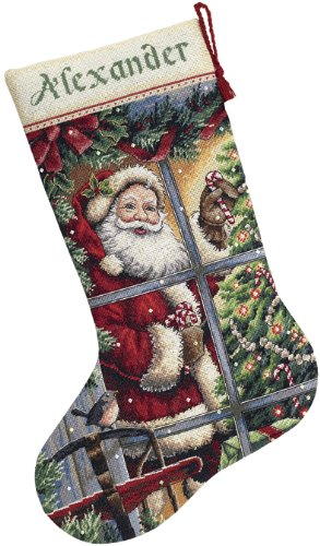 Dimensions Needlecrafts Counted Cross Stitch, Candy Cane Santa Stocking kit (8778) ()