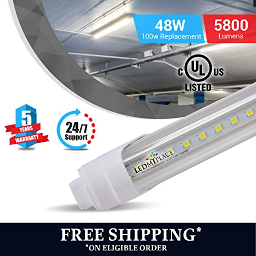 T8 8ft led tube 48w R17 5800 lumens 6500k clear 4pcs