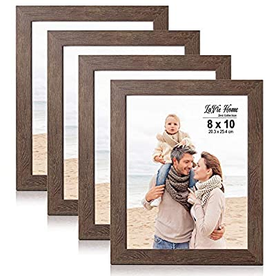LaVie Home 8x10 Picture Frames (4 Packs, Dark Brown) Wooden Textured Finish Photo Frame with High Definition Glass for Wall Mount & Tabletop Display, Set of 4 Zest Collection - √ UNIQUE WOOD TEXTURE DESIGN - LaVie Home 8 x 10 picture frame is designed with a simple lines, Vintage faux wood texture photo frame and it looks bright and tasteful, fits any decor,whether it's modern or vintage. √ HIGHEST QUALITY - Crafted by Durable PS (acrylic-resin) molding construction, clean lines with attractively artificial wood texture finished. Every frame made with perfect attention to details. √ WALL MOUNT or TABLE TOP - Includes hanger hooks to easily hang artwork or photographs in either portrait or landscape orientation. Versatile kickstand easel lets you display either horizontally or vertically. - picture-frames, bedroom-decor, bedroom - 51z3pOKvLVL. SS400  -