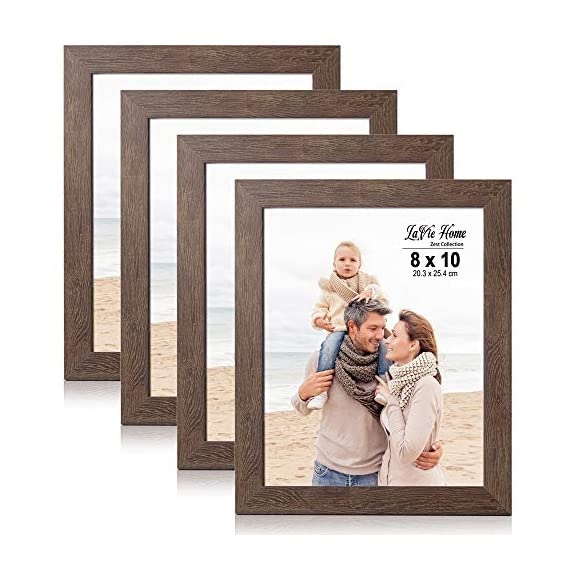 LaVie Home 8x10 Picture Frames (4 Packs, Dark Brown) Wooden Textured Finish Photo Frame with High Definition Glass for Wall Mount & Tabletop Display, Set of 4 Zest Collection - √ UNIQUE WOOD TEXTURE DESIGN - LaVie Home 8 x 10 picture frame is designed with a simple lines, Vintage faux wood texture photo frame and it looks bright and tasteful, fits any decor,whether it's modern or vintage. √ HIGHEST QUALITY - Crafted by Durable PS (acrylic-resin) molding construction, clean lines with attractively artificial wood texture finished. Every frame made with perfect attention to details. √ WALL MOUNT or TABLE TOP - Includes hanger hooks to easily hang artwork or photographs in either portrait or landscape orientation. Versatile kickstand easel lets you display either horizontally or vertically. - picture-frames, bedroom-decor, bedroom - 51z3pOKvLVL. SS570  -