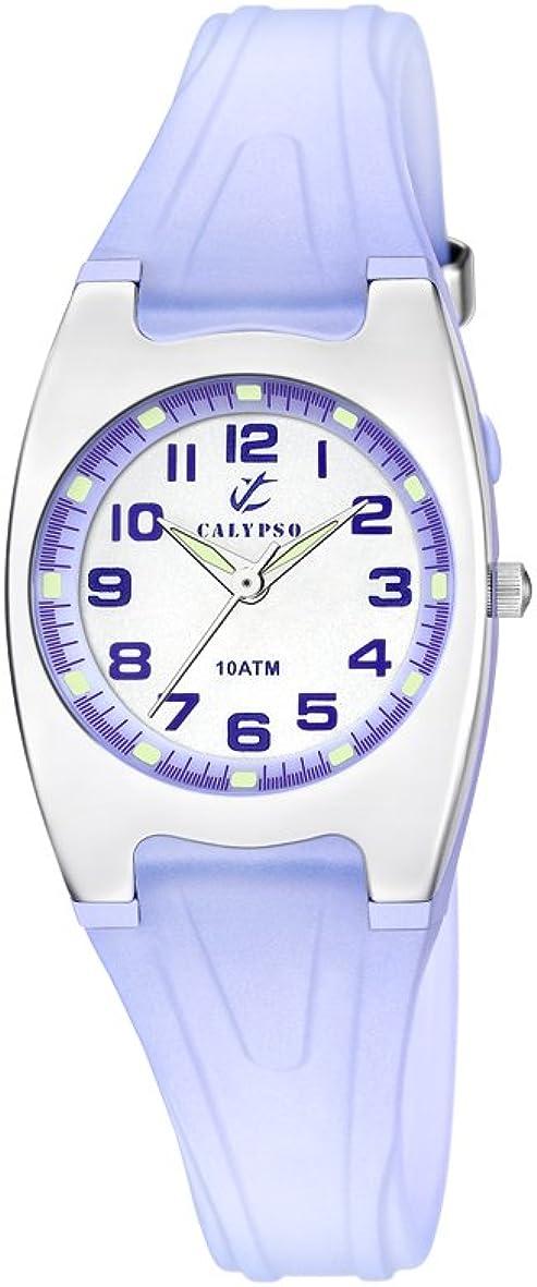Calypso K6042/E - Reloj de Cuarzo para Mujer con Esfera analógica Blanca y Correa de plástico Azul