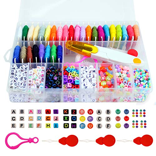 Friendship Bracelet Making Beads Kit, Letter Beads, 28 Multi-Color Embroidery Floss