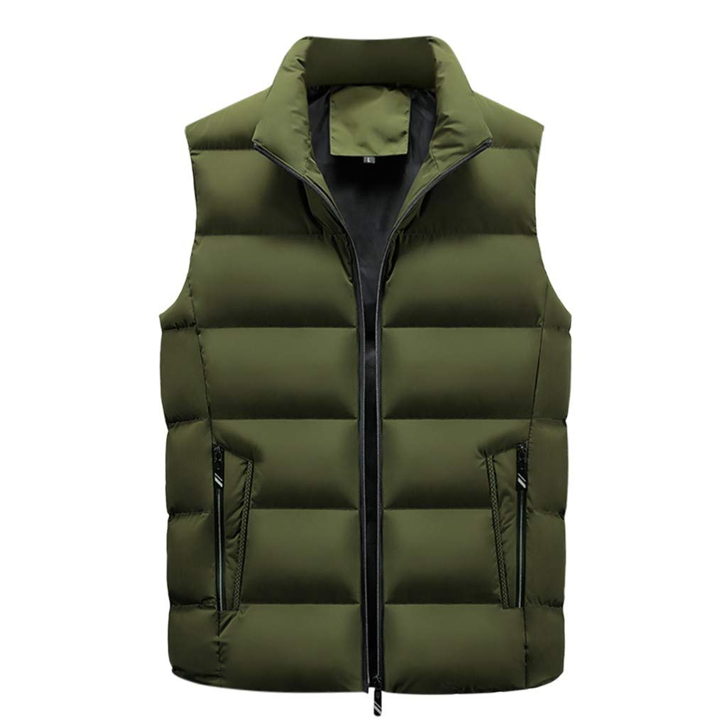 Funnygals - Textured Mens Padded Gilet Waistcoat- Microfibre Insulation Bodywarmer, Lightweight, Water Resistant Vest Army Green by Funnygals - Clothing