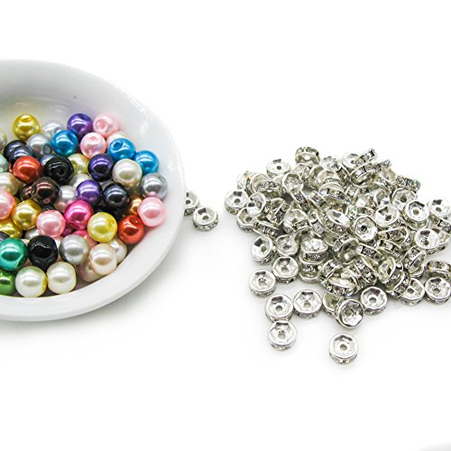 TOAOB Bulk Mixed Color 6mm Round glass pearl Beads crystal rondelle spacer for Jewelry Making kit