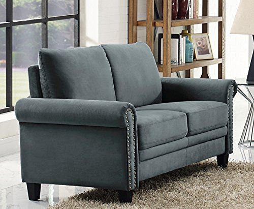 LifeStyle Solutions Arlington Loveseat, Charcoal Grey