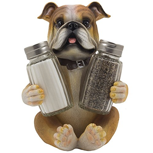 - Bulldog Salt & Pepper Shaker Set Statuette with Decorative Spice Rack Display Stand Holder Puppy Dog Figurine in Puppy and Canine Kitchen Decor or Restaurant Bar Table Decorations As Housewarming Gifts for Pet Lovers