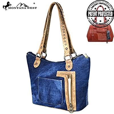 MW587G-8304 Montana West Concho Denim Collection Tote Bag