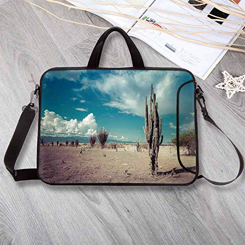 "Cactus Decor Wear-Resisting Neoprene Laptop Bag,Abandoned Desert with Dried Cactus Flowers on a Sunny Hot Day Photo Laptop Bag for Laptop Tablet PC,17.3""L x 13""W x 0.8""H"