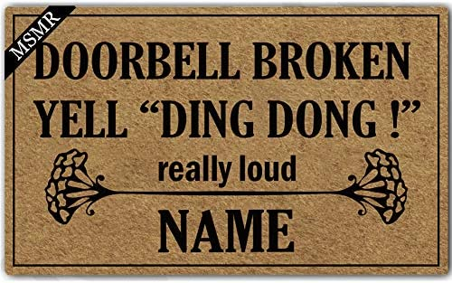 MsMr Personalized Your Name Indoor Outdoor Doormat Custom Doormat Monogram Design Home Office Welcome Mat Doorbell Broken Yell Ding Dong Really Loud Door Mat 30 x18