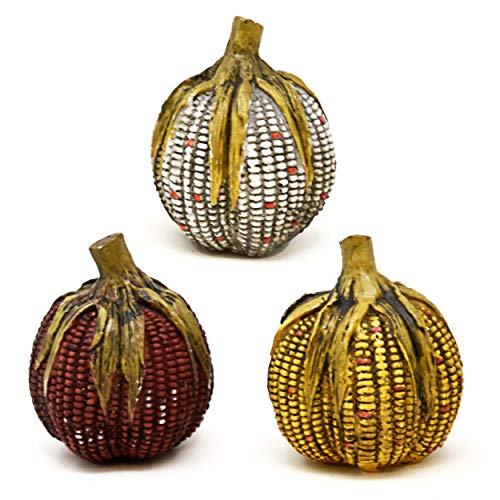 Thanksgiving Decorative Artificial Fall Pumpkins Tabletop Centerpiece 3 Pack Harvest Indian Corn Pumpkin Gourds Autumn Resin Table Topper for Fireplace Mantle Desk Shelf Kitchen Living Room Home Decor