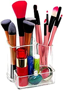 Kamay's 2 Compartments Transparent Acrylic Lipstick Makeup Brush Eyebrow Pencil Holder Cosmetic Display Stand Case (SF-2132) (A)