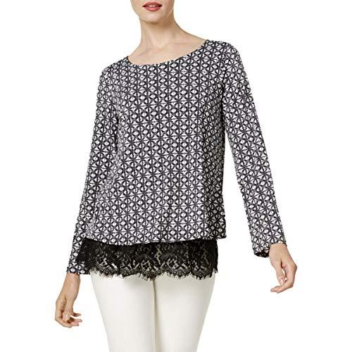 Karen Kane Womens Printed Lace-Trim Casual Top Black L