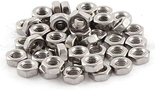 colore argento finitura in acciaio INOX Dado esagonale metrico M3 x 0,5 mm RETYLY 50 pezzi