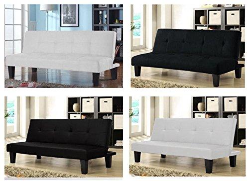 divano letto in ecopelle nera e bianco. ottimo per soggiorno ma anche per un ufficio.