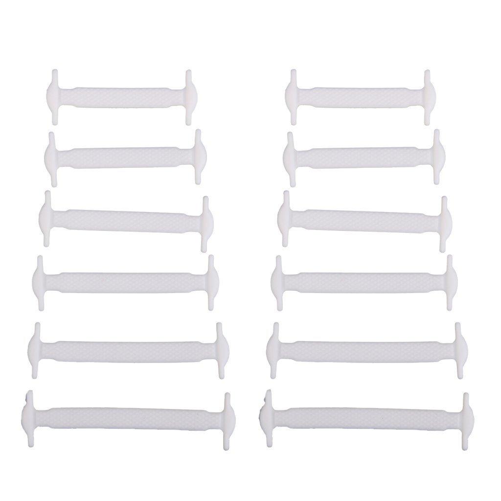 Nabati 12pcs/pack silicona elástica no tie cordones para niños color blanco