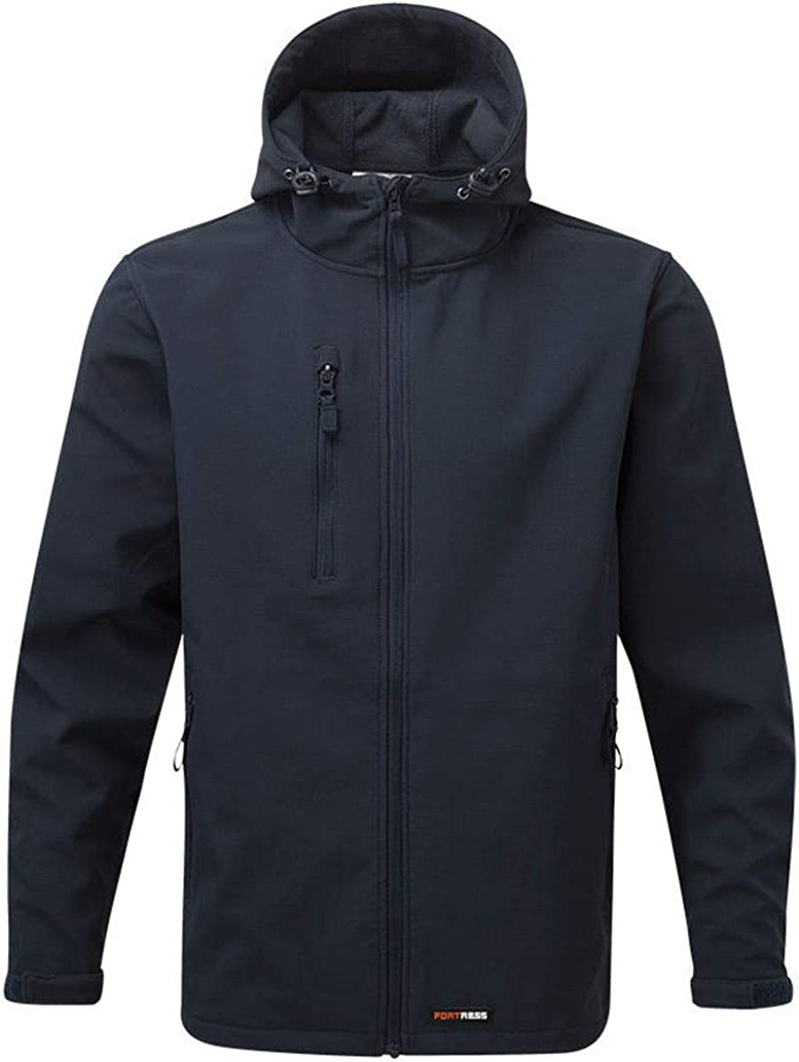 Hood New Mens Softshell Fleece Waterproof Windproof Fabric Thermally Lined Jacket Warm Comfortable Casual Black Heavy Durable Fabric Full Zip Front Zipped Side Pockets Leisure Workwear Navy M