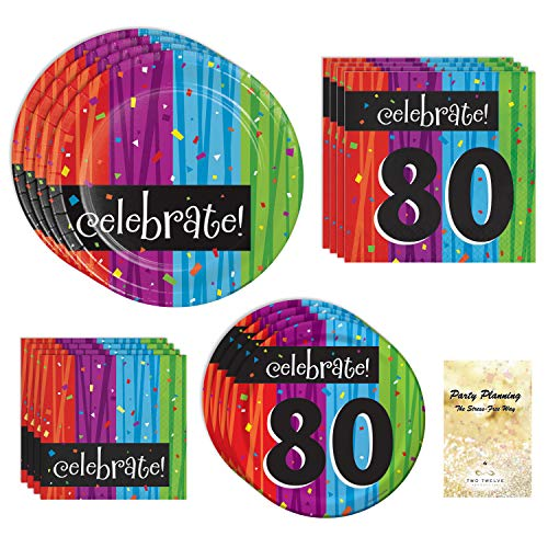 80th Birthday Party Supplies, Colorful Milestone Celebrations Design, Bundle of 4 Items: Dinner Plates, Dessert Plates, Lunch Napkins and Beverage Napkins -