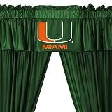 NCAA Miami Hurricanes 5pc Long Curtain-Drapes Valance Set