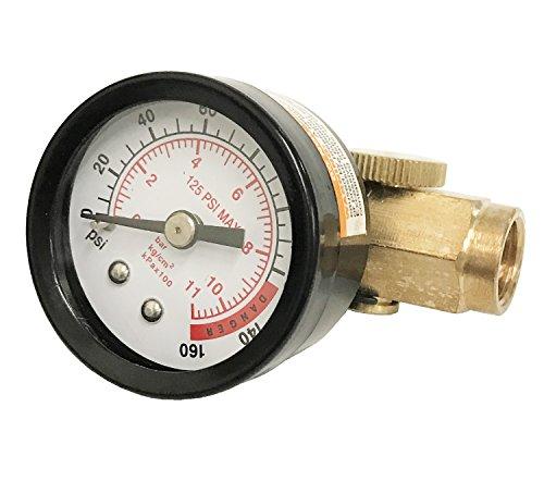 WennoW Inline Air Pressure Regulator with Gauge Solid Brass Construction 160 PSI (Brass Air Regulator)