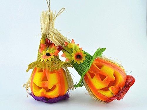 Halloween Decorations Cute Pumpkin Scarecrow Led Changing Color Night Light Lantern Bar Disco Pary Decoration 2 Pcs ()